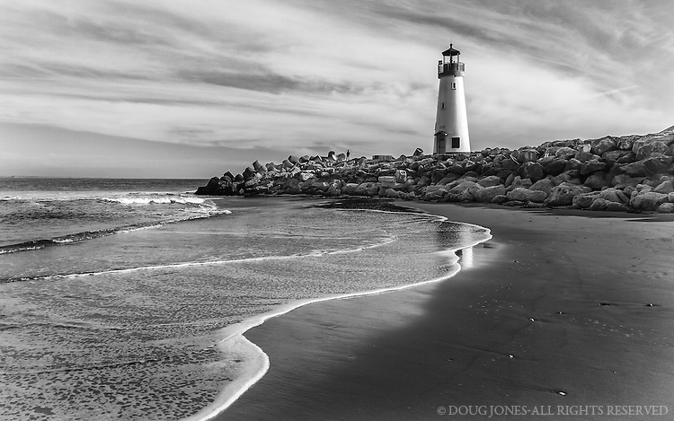 This is a rare perspective of Walton Lighthouse from inside the harbor channel, made possible by a minus tide and tons of sand deposited by winter storms in the Pacific.  These storms brought little precipitation to Californa, but lots of surge, swell, and surf.