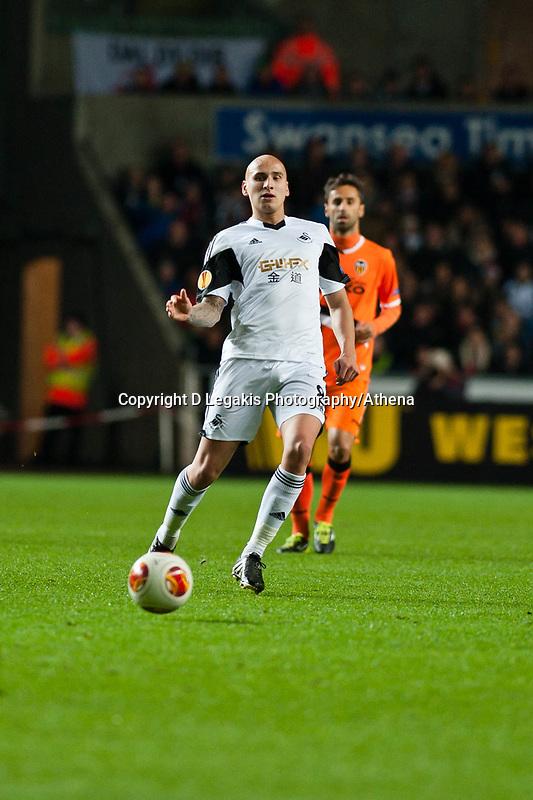 Thursday 28 November  2013  Pictured:Jonjo Shelvey <br /> Re:UEFA Europa League, Swansea City FC vs Valencia CF  at the Liberty Staduim Swansea