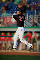 Batavia Muckdogs Troy Johnston (27) bats during a NY-Penn League game against the Auburn Doubledays on August 31, 2019 at Dwyer Stadium in Batavia, New York.  Auburn defeated Batavia 12-5.  (Mike Janes/Four Seam Images)