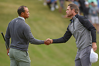 Tiger Woods (USA) congratulates Lucas Bjerregaard (DEN)  on 18 following their match on day 4 of the WGC Dell Match Play, at the Austin Country Club, Austin, Texas, USA. 3/30/2019.<br /> Picture: Golffile | Ken Murray<br /> <br /> <br /> All photo usage must carry mandatory copyright credit (© Golffile | Ken Murray)