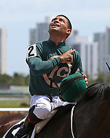 HALLANDALE BEACH, FL - MARCH 31:  Luis Saez celebrates after winning the Sanibel Island Stakes. Scenes from Florida Derby Day at Gulfstream Park on March 31, 2018 in Hallandale Beach, Florida. (Photo by Liz Lamont/Eclipse Sportswire/Getty Images)