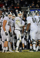 29 November 2014:  Michigan State QB Connor Cook (18) in the huddle. The Michigan State Spartans defeated the Penn State Nittany Lions 34-10 at Beaver Stadium in State College, PA.