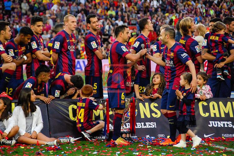 League BBVA 2014/2015. Game: 38.<br /> FC Barcelona vs Deportivo: 2-2.<br /> Xavi Hernandez &amp; Andres Iniesta.