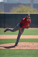 Arizona Diamondbacks relief pitcher Mason McCullough (47) follows through on his delivery during a Minor League Spring Training intrasquad game at Salt River Fields at Talking Stick on March 12, 2018 in Scottsdale, Arizona. (Zachary Lucy/Four Seam Images)