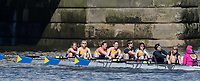 Mortlake/Chiswick, GREATER LONDON. United Kingdom. Peterborough City Rowing Club, W.MasC.8+, competing at the  2017 Vesta Veterans Head of the River Race, The Championship Course, Putney to Mortlake on the River Thames.<br /> <br /> <br /> Sunday  26/03/2017<br /> <br /> [Mandatory Credit; Peter SPURRIER/Intersport Images]