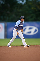 Trenton Thunder shortstop Wendell Rijo (12) during a game against the New Hampshire Fisher Cats on August 19, 2018 at ARM & HAMMER Park in Trenton, New Jersey.  New Hampshire defeated Trenton 12-1.  (Mike Janes/Four Seam Images)
