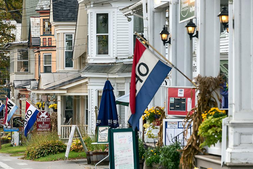 Quaint shops New England village, Chester, Vermont, USA
