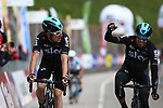 April 19th 2017, Funes / Villnoss , Italy; UCI Tour of the Alps mens cycling tour, stage 3; GBR's Geraint Thomas (Team Sky) wins ahead of Spanish Mikel Landa Meana (Team Sky), Italy's Domenico Pozzovivo (AG2R La Mondiale) is third.Geraint Thomas (Team Sky) is the new leader.