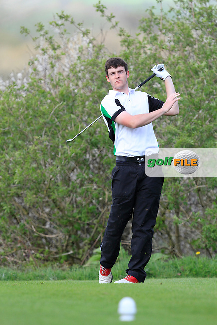 Kyle McCarron (North West) on the 15th tee during Day 1 of The Munster Youths' Amateur Open Championship in Dungarvan Golf Club on Wednesday 23nd April 2014.<br /> Picture:  Thos Caffrey / www.golffile.ie