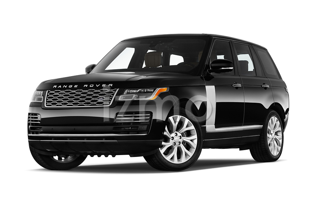 Stock pictures of low aggressive front three quarter view of a 2018 Land Rover Range Rover Autobiography 5 Door SUV