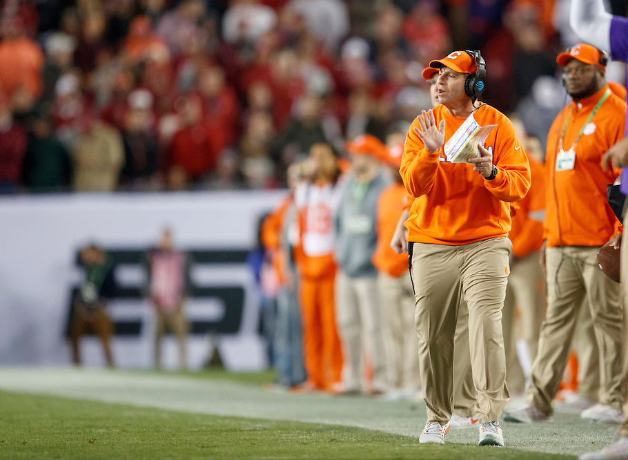 JANUARY 9, 2017: Clemson Head Coach Dabo Swinney celebrates during 2017 College Football Playoff National Championship game against Alabama at Raymond James Stadium. (Photo by Matt May)