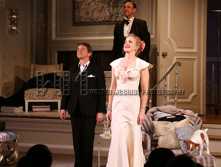 Martin Short and Katie Finneran and F. Murray Abraham during the re-opening night Curtain Call for 'It's Only A Play' at the Bernard B. Jacobs Theatre on January 23, 2014 in New York City.