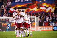Tim Cahill (17) of the New York Red Bulls celebrates scoring with teammates. The New York Red Bulls  defeated the Portland Timbers 3-2 during a Major League Soccer (MLS) match at Red Bull Arena in Harrison, NJ, on August 19, 2012.