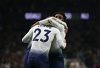 Tottenham Hotspur's Christian Eriksen celebrates scoring his side's first goal with Danny Rose<br /> <br /> Photographer Rob Newell/CameraSport<br /> <br /> The Premier League - Tottenham Hotspur v Brighton and Hove Albion - Tuesday 23rd April 2019 - White Hart Lane - London<br /> <br /> World Copyright © 2019 CameraSport. All rights reserved. 43 Linden Ave. Countesthorpe. Leicester. England. LE8 5PG - Tel: +44 (0) 116 277 4147 - admin@camerasport.com - www.camerasport.com
