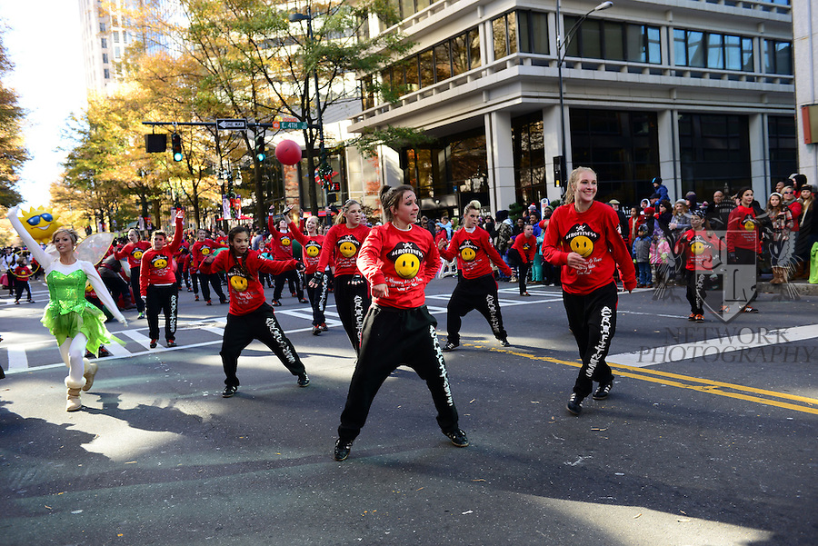 General view of atmosphere at the 66th Charlotte 2013 Novant Health Thanksgiving Day Parade. This year's parade features 15 high school and community marching bands, 15 floats, 13 flying balloons and nine live performances at Tryon and Ninth streets. The parade route is down Tryon to Stonewall Street in Charlotte, North Carolina on November 28, 2013. (Photo by JL/Sipa USA)