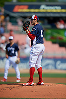 Reading Fightin Phils starting pitcher Jerad Eickhoff (43) looks in for the sign during the first game of a doubleheader against the Portland Sea Dogs on May 15, 2018 at FirstEnergy Stadium in Reading, Pennsylvania.  Portland defeated Reading 8-4.  (Mike Janes/Four Seam Images)