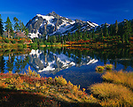 Mt. Shuksan reflecting in Picture Lake, surrounded by autumn foliage, Washington.