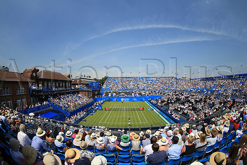June 19th 2017, Queens Club, West Kensington, London; Aegon Tennis Championships, Day 1; Fisheye view of Centre Court during the first match featuring Adrian Mannarino vs Jo-Wilfried Tsonga