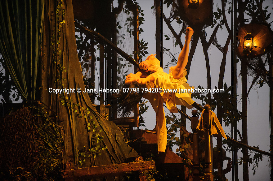 balletLORENT presents SNOW WHITE, as part of the Family Weekend, at Sadler's Wells. Artistic Director, Liv Lorent (MBE), directs and choreographs. Set design is by Phil Eddols, with lighting design by Malcolm Rippeth, and costume design by Libby Everall. balletLORENT's 11 professional dancers are joined by a cast of 12 local children from Vittoria Primary School in the Islington Borough, aged 6 - 9 years old. Picture shows: Natalie Trewinnard (Snow White)