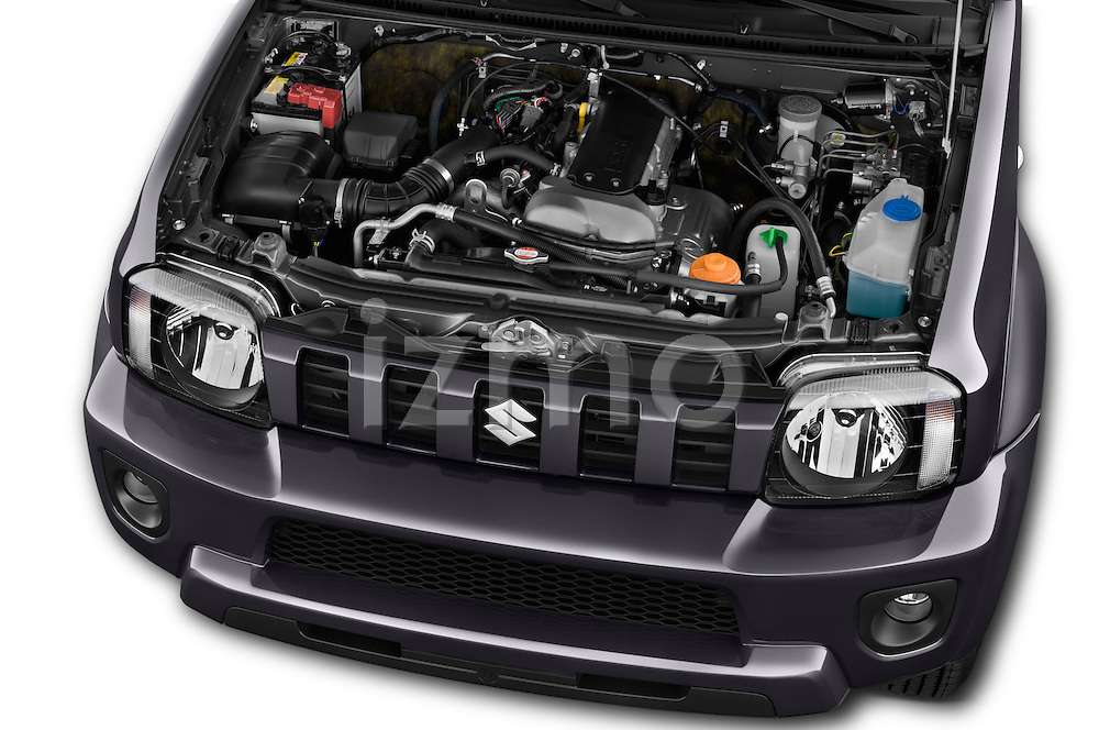 Car Stock 2014 Suzuki JIMNY JLX X-Citement 3 Door SUV 4WD Engine high angle detail view