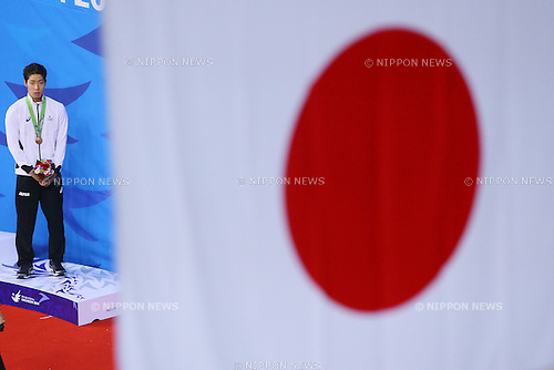 Kosuke Hagino (JPN), <br /> SEPTEMBER 25, 2014 - Swimming : <br /> Men's 200m Backstroke Medal Ceremony <br /> at Munhak Park Tae-hwan Aquatics Center <br /> during the 2014 Incheon Asian Games in Incheon, South Korea. <br /> (Photo by YUTAKA/AFLO SPORT)