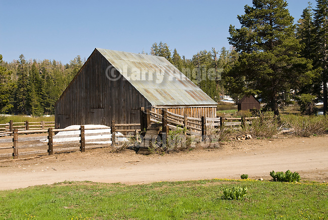 Wooden hay barn and horse corral at the cow camp in Tryon Meadow in the high Sierra Nevada of California...