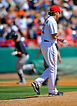 12 March 2011: Washington Nationals' pitcher John Lannan, walks up the mound after serving up a 2-run homer to Jorge Vazquez at a Spring Training game against the New York Yankees at Space Coast Stadium in Viera, Florida. The Nationals edged out the Yankees 6-5 in Grapefruit League action. Mandatory Credit: Ed Wolfstein Photo