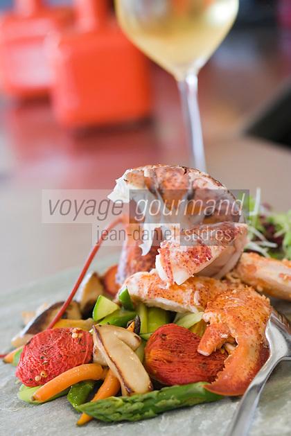 Asie/Israel/Tel-Aviv-Jaffa: Homard avec légumes grillés et tomate confite recette de Yoram Nitzan chef du Restaurant Mul-Yam sur le vieux port