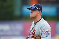 Binghamton Mets infielder Allan Dykstra (24) during game against the New Britain Rock Cats at New Britain Stadium on May 23 2013 in New Britain, Connecticut.  New Britain defeated Binghamton 1-0.  Tomasso DeRosa/Four Seam Images