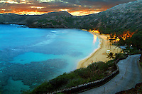 Hanauma Bay at sunset on O'ahu