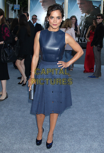 Alice Braga<br /> &quot;Elysium&quot; Los Angeles Premiere held at the Regency Village Theatre, Westwood, California, UK,<br /> 7th August 2013.<br /> full length blue leather sleeveless dress skirt shoes clutch bag <br /> CAP/ADM/RE<br /> &copy;Russ Elliot/AdMedia/Capital Pictures