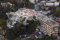 An arial view of the UN headquarters in Haiti shows the devastation caused by an earthquake measuring 7 plus on the Richter scale rocked Port au Prince Haiti just before 5 pm yesterday, January 12, 2009.