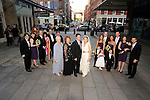 Elegant wedding at the South Street Seaport in New York City on a sunny, spring day.