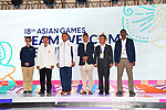 Yasuhiro Yamashita (JPN), <br /> AUGUST 16, 2018 : Welcome Ceremony for the Japanese delegation at Athlete's Village during the 2018 Jakarta Palembang Asian Games in Jakarta, Indonesia. (Photo by MATSUO.K/AFLO SPORT)