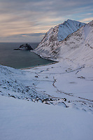View over Haukland beach in winter, Vestvågøy, Lofoten Islands, Norway