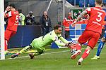 Hoffenheims Oliver Baumann (Nr.1) hechtet nach dem Ball beim Spiel in der Fussball Bundesliga, TSG 1899 Hoffenheim - Fortuna Duesseldorf.<br /> <br /> Foto © PIX-Sportfotos *** Foto ist honorarpflichtig! *** Auf Anfrage in hoeherer Qualitaet/Aufloesung. Belegexemplar erbeten. Veroeffentlichung ausschliesslich fuer journalistisch-publizistische Zwecke. For editorial use only. DFL regulations prohibit any use of photographs as image sequences and/or quasi-video.