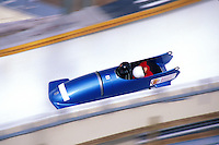 Bobsled racing action at Utah Winter Sports Park, Park City, Utah