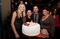 NO REPRO FEE. 8/11/2011. The Counter Celebrates its first birthday. Pictured at the Counter Burber Restaurant on Suffolk St Dublin are Counter Staff with a birthday Cake Mariola, Darragh, Reise and Chloe.  Picture James Horan /Collins