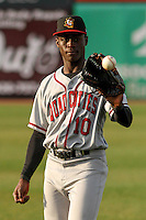 Quad Cities River Bandits outfielder Daz Cameron (10) warms up prior to a Midwest League game against the Wisconsin Timber Rattlers on April 20, 2016 at Fox Cities Stadium in Appleton, Wisconsin.  Quad Cities defeated Wisconsin 5-2. (Brad Krause/Four Seam Images)
