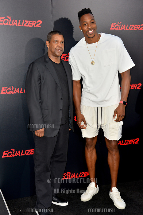 Denzel Washington &amp; Dwight Howard at the premiere for &quot;The Equalizer 2&quot; at the TCL Chinese Theatre, Los Angeles, USA 17 July 2018<br /> Picture: Paul Smith/Featureflash/SilverHub 0208 004 5359 sales@silverhubmedia.com