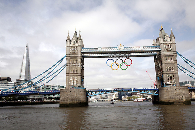 WWW.ACEPIXS.COM . . . . .  ..... . . . . US SALES ONLY . . . . .....June 27 2012, London....Tower Bridge is adorned with Olympic Rings prior to the 2012 London Olympic Games on June 27 2012 in London....Please byline: FAMOUS-ACE PICTURES... . . . .  ....Ace Pictures, Inc:  ..Tel: (212) 243-8787..e-mail: info@acepixs.com..web: http://www.acepixs.com