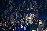 Chelsea manager Antonio Conte is thrown into the air by his players     <br /> <br /> <br /> Photographer Craig Mercer/CameraSport<br /> <br /> The Premier League - Chelsea v Watford - Monday 15th May 2017 - Stamford Bridge - London<br /> <br /> World Copyright &copy; 2017 CameraSport. All rights reserved. 43 Linden Ave. Countesthorpe. Leicester. England. LE8 5PG - Tel: +44 (0) 116 277 4147 - admin@camerasport.com - www.camerasport.com