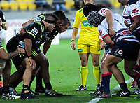 The Hurricanes front row of Chris Eves, Asofa Aumua and Toby Smith sets a scrum during the Super Rugby match between the Hurricanes and Rebels at Westpac Stadium in Wellington, New Zealand on Saturday, 4 May 2019. Photo: Dave Lintott / lintottphoto.co.nz