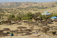 ETHIOPIA, Tigray, near Adwa, ethiopian highlands, orthodox church in landscape / AETHIOPIEN, Tigray, Hochland, orthodoxe Kirche in der lLndschaft