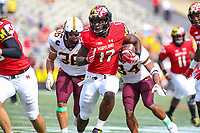 College Park, MD - September 22, 2018:  Maryland Terrapins tight end Chigoziem Okonkwo (17) runs for a touchdown during the game between Minnesota and Maryland at  Capital One Field at Maryland Stadium in College Park, MD.  (Photo by Elliott Brown/Media Images International)