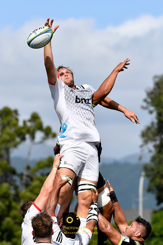 Crusaders' Mitchell Dunshea in action during the Super Rugby Preseason - Hurricanes v Crusaders at Levin Domain, Levin, New Zealand on Saturday 2 February 2019. <br /> Photo by Masanori Udagawa. <br /> www.photowellington.photoshelter.com