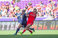 Orlando, FL - Saturday October 14, 2017: Kristen Hamilton, Lindsey Horan during the NWSL Championship match between the North Carolina Courage and the Portland Thorns FC at Orlando City Stadium.