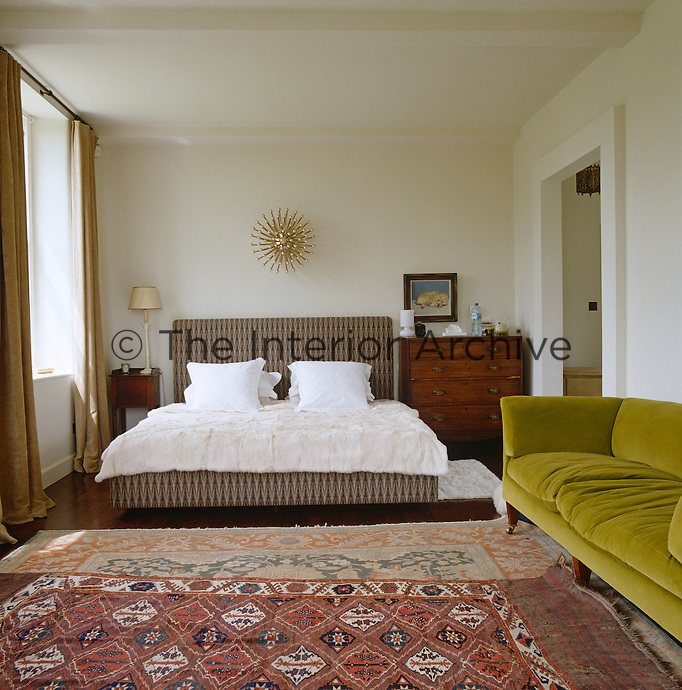 The master bedroom at Bowling Green, a 17th century pavilion that has been recently converted into a private retreat for the summer