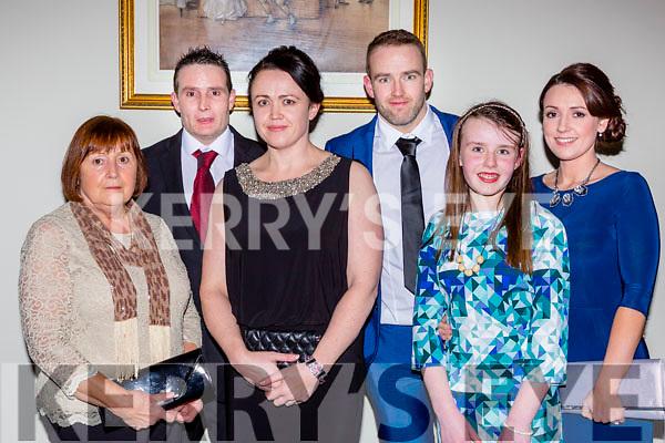 Emma Kiely Killarney with her family at the Kerry Sports Star awards in the Malton Hotel on Friday night l-r: Valarie, James, Emma, Rona, Erika and Suzanna Kiely