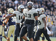 Annapolis, MD - October 21, 2017: UCF Knights defensive lineman Tony Guerad (93) celebrates during the game between UCF and Navy at  Navy-Marine Corps Memorial Stadium in Annapolis, MD.   (Photo by Elliott Brown/Media Images International)